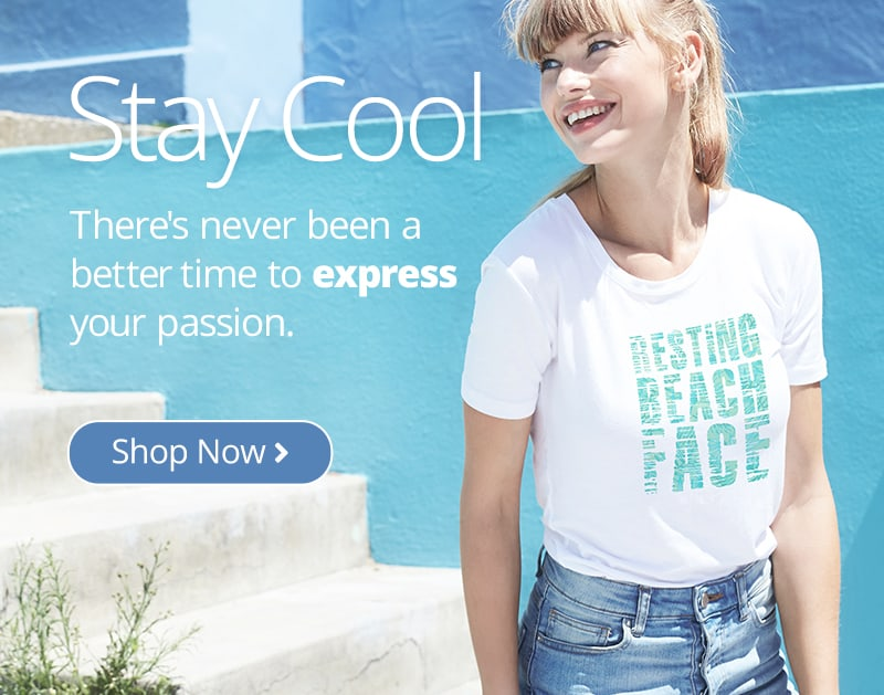 Young woman in white classic t-shirt with custom printed summer stylized text design which reads: Resting Beach Face.