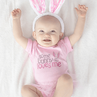 Celebrate Easter with custom design printed Easter apparel, mugs, tote bags for Easter egg hunts, baby onesies, baby blankets and more