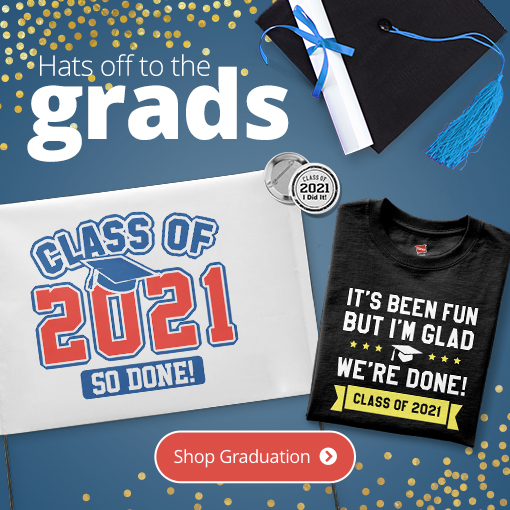 An image of multiple personalized gifts for the soon to be grad in your house!
