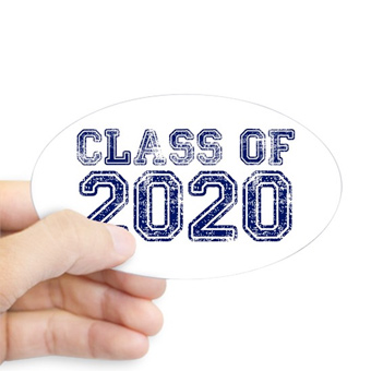 Custom printed sticker with weathered Class of 2020 design