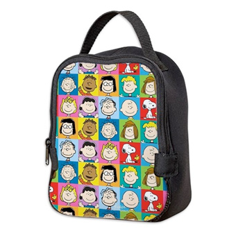 Custom printed lunch bag with pattern of official licensed Peanuts characters.