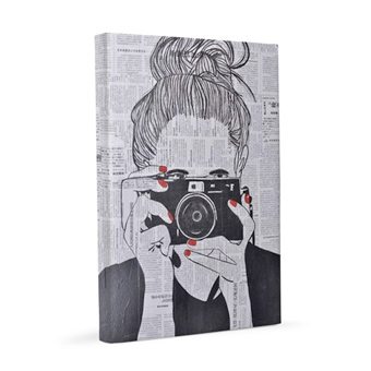 Custom printed canvas print with an illustration of a photographer.