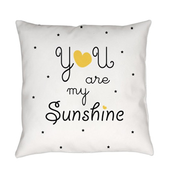 Custom printed pillow with black dots and yellow heart design and text that reads: You are My Sunshine.