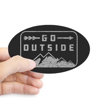 Custom printed sticker with a mountain design and text that reads: Go Outside.