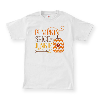 Custom printed t-shirt wiht a fall pumpkin design and test that reads: Pumkin Spice Junkie.