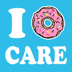 Funny design for the foodies in your life with a donut illustration and text to read: I DONUT Care.