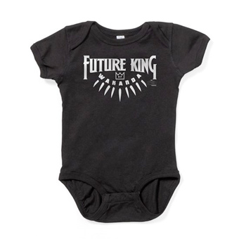Custom printed black baby bodysuit with an official licensed Marvel Black Panther design that reads: Future King.