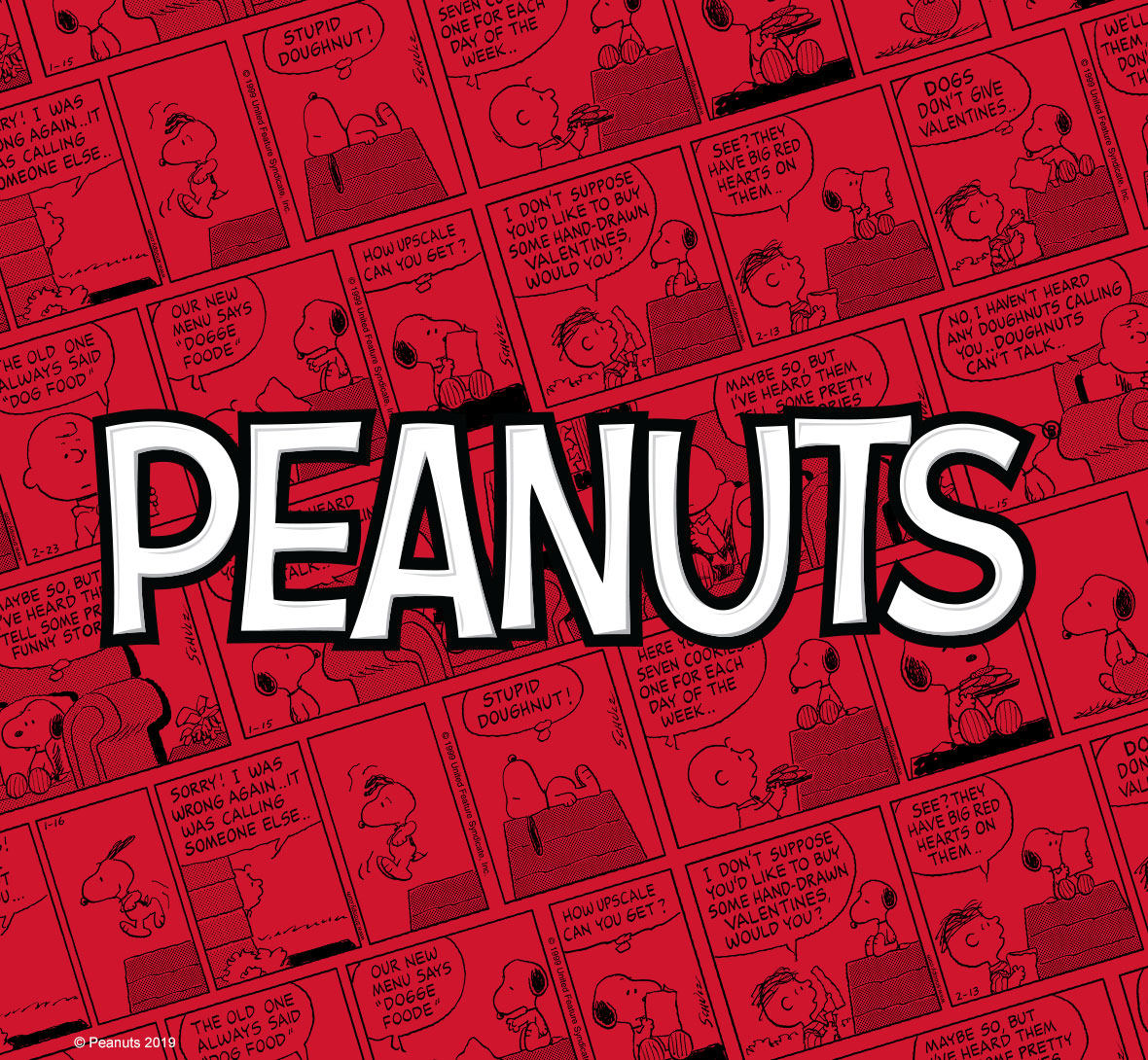 Official licensed Peanuts comic and move design.