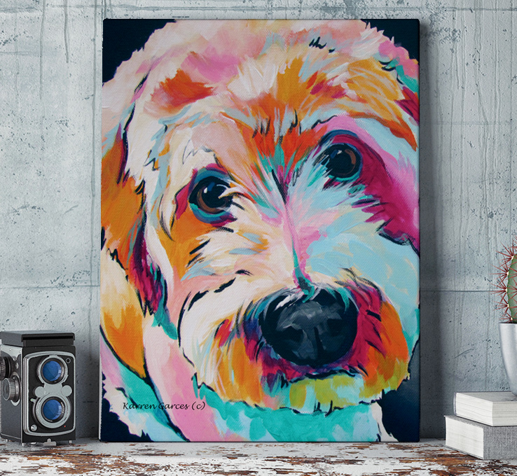Artistic image of a dog on a custom printed canvas from CafePress.