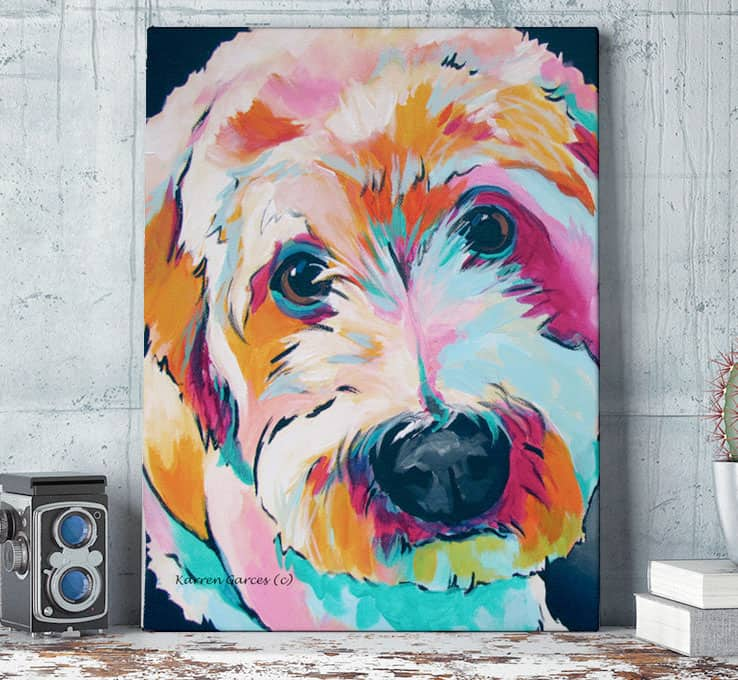 Artistic image of a dog on a custom printed canvas from CafePress
