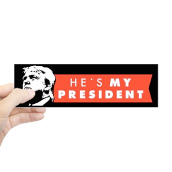 Custom printed election 2020 bumper sticker with illustration of Donald Trump and text that reads: He's my president.