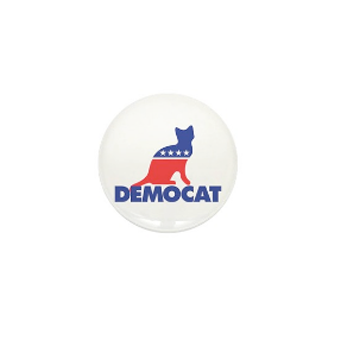 Custom printed election 2020 button with blue and read cat design illustration and text that reads: Democat.