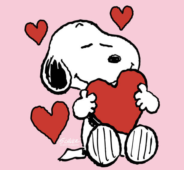Peanuts Valentines Day licensed merchandise including t-shirts, apparel, drinkware, home decor, and more