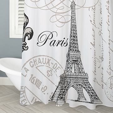 Shower curtains printed with artsy designs, illustrations, patterns, florals and more.