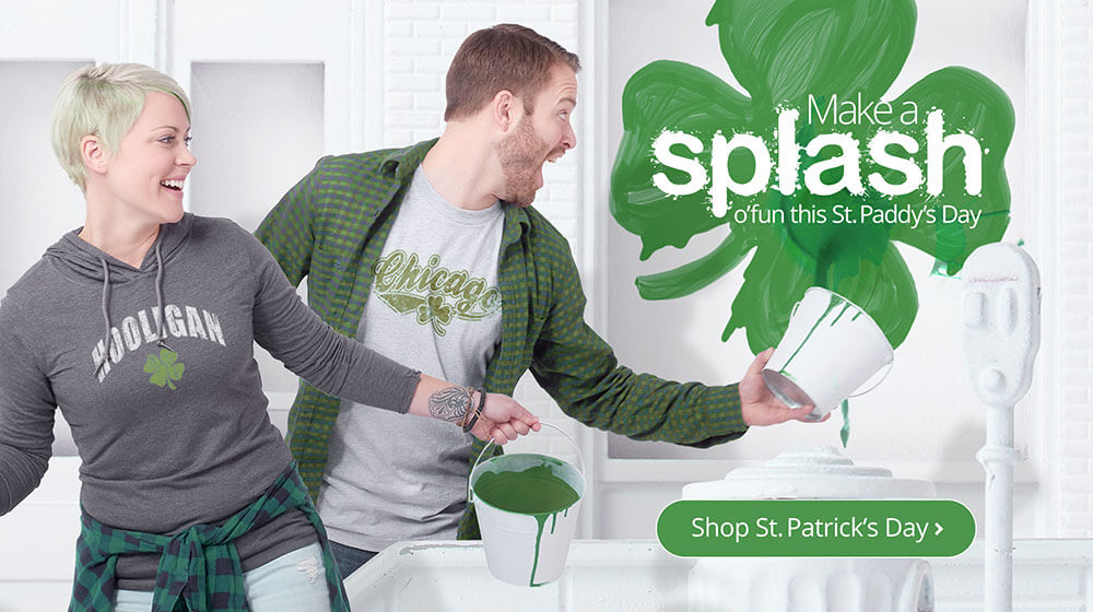 Make a splash this St. Patrick's Day with great Irish inspired designs on t-shirts, sweatshirs, hoodies, drinkware, mugs, steins, flasks, shot glasses, home goods, blankets, pet t-shirts, kids t-shirts, and more