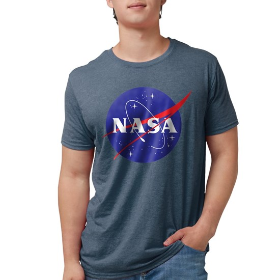 Heather navy t-shirt with NASA logo design