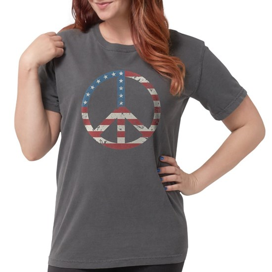 Charcoal t-shirt with peace sign design with stars and stripes overlay