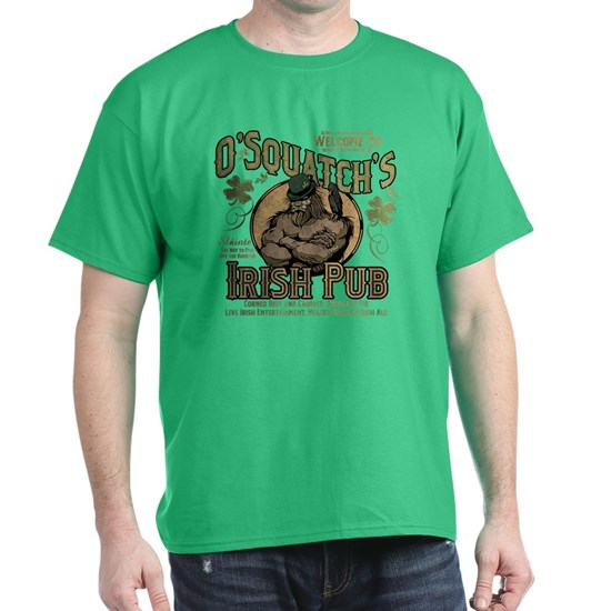 Green t-shirt with funny St. Patrick's Day design that reads O'Squatch's Irish Pub