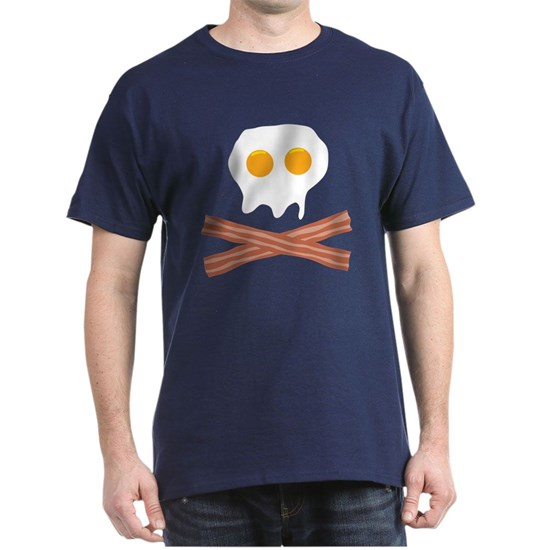 Navy t-shirt with funny bacon and eggs design shaped like skull and crossbones