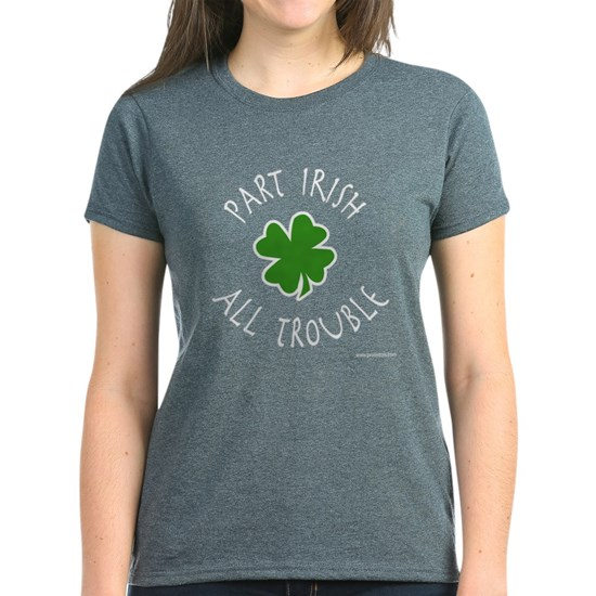 Grey t-shirt with funny St. Patrick's Day design that reads Part Irish All Trouble