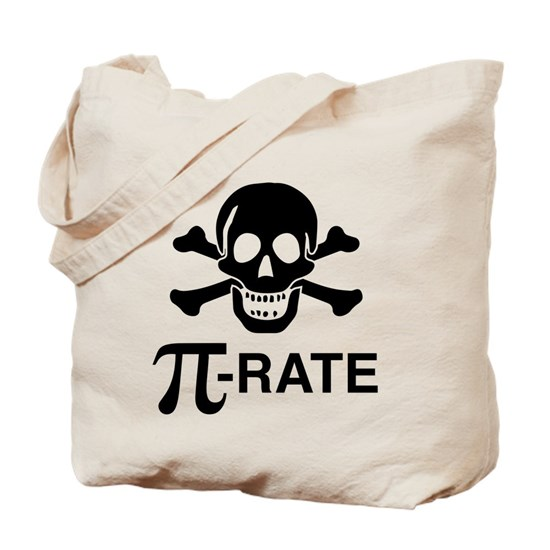 Tote bag with funny design of pirate skull and cross bones and text that says Pi-rate with a Pi symbol