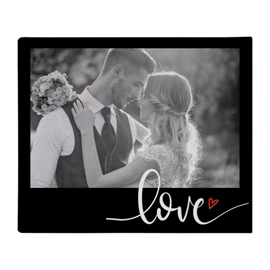 Blanket with personalizable image and scripted text Love