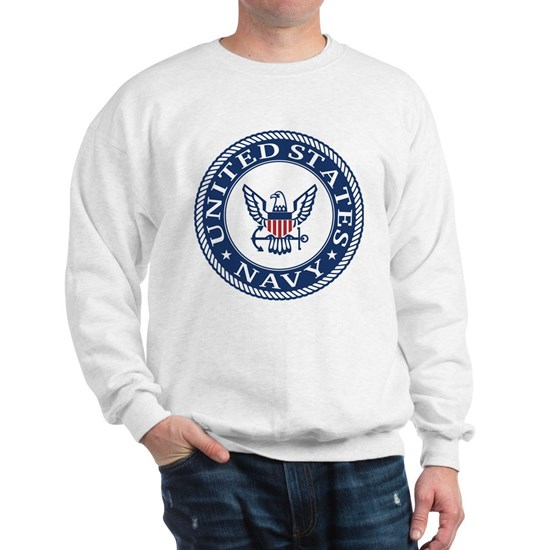 White sweatshirt with United States Navy seal