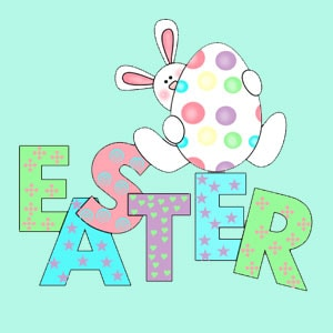 Cute design that says Easter with each letter in various pastel colors and topped with a bunny hugging an egg