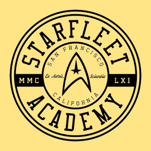 Star Trek design with circular emblem that reads Starfleet Academy