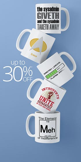 Funny stack of mugs displaying the amazing geek culture content available from Cafepress
