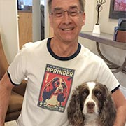 Happy guy with a custom Cafepress T-Shirt with his Springer Spaniel on it