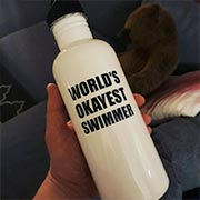 Swimmer with his custom Cafepress water bottle.