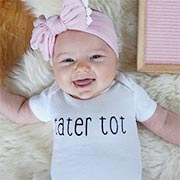 Happy baby in her custom onsie printed from Cafepress