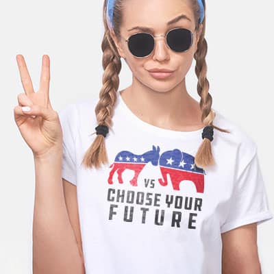 Young woman wearing white classic t-shirt with political Democrat vs. Republican symbols and text which reads: Choose Your Future.