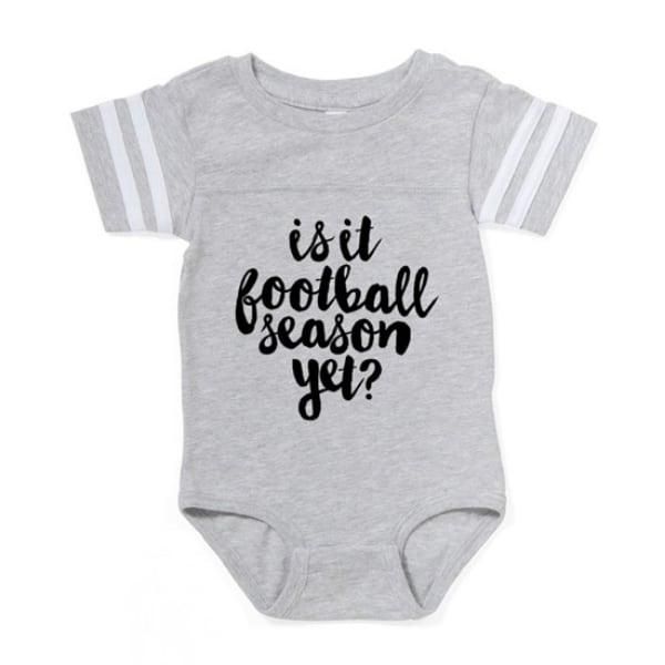 Baby bodysuit with custom printed stylized text design which reads: Is it football season yet?