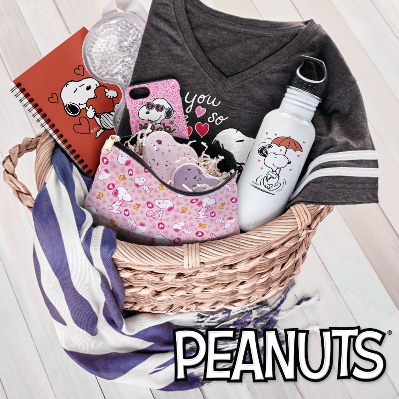Basket full of officially licensed Peanuts merchandise.