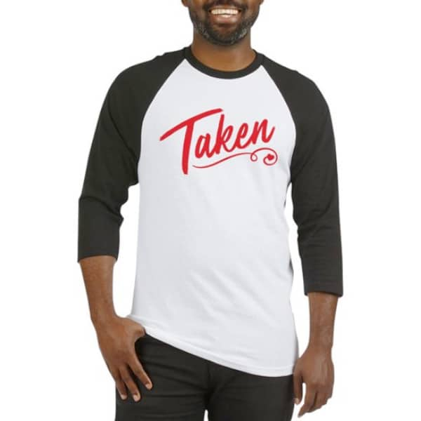 Men's black and white baseball tee with baseball logo stylized text design which reads: Taken