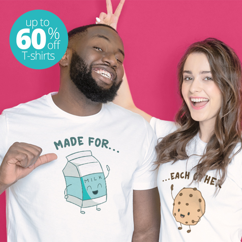 Couple wearing white t-shirts with cute milk and cookies design.