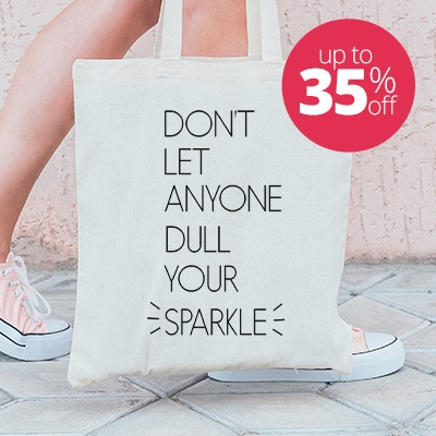 Reusable tote bag with custom printed design featuring cute design that reads Don't Let Anyone Dull Your Sparkle.