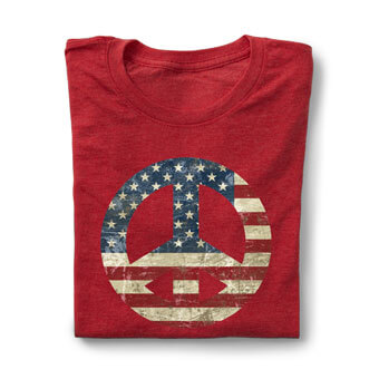Image of a red t-shirt with a Fourth of July custom design. The design is of a symbol with an American flag pattern.