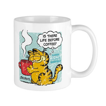 Image of a large coffee mug with a custom printed licensed Garfield comic design printed on the front that reads: Is There Life Before Coffee? Classic 1980 Garfield.