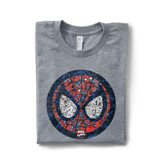 Image of a folded heather gray tri-blend t-shirt with a custom printed weathered licensed spiderman face emoji design printed on the front.