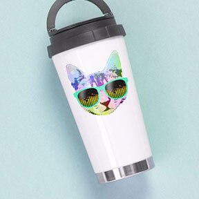 Image of a travel mug with a custom designed funky cat wearing sunglasses illustration printed on the front.