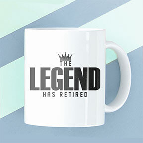 Image of a coffee mug placed on a blue striped background and printed with a funny retirement custom design that reads: The Legend Has Retired.