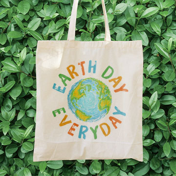 A quality CafePress canvas totebag showing support for Earth Day