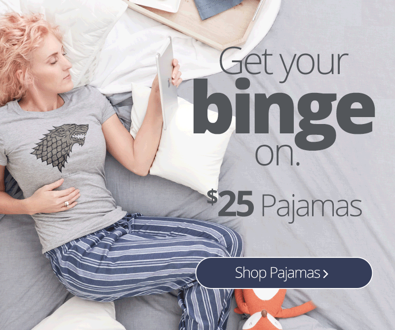 Binge watch all your favorites, including Game of Thrones, in our comfy CafePress pajamas. Personalized just for you!