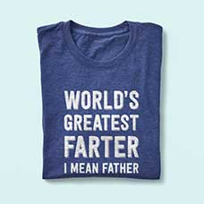 T-Shirt with funny Father's Day design custom printed on the front. Great Father's Day present for 2019.