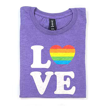 Great ideas for products to celebrate Gay Pride Month. Buttons, T-Shirts, mugs, drinkware, home goods, posters, and more.