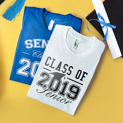 Two graduation 2019 t-shirts with custom printed Senior Class of 2019 designs.