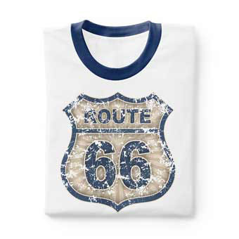 Men's and women's custom printed vintage ringer t-shirts. Choose from thousands of designs, add your own image, or create your own design. Image of a folded ringer t-shirt with custom printed retro weathered Route 66 sign design.